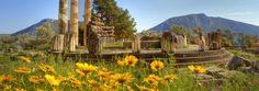 Spring earth/soil, mountains, ruins.
