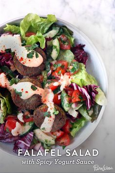 Falafel Salad with Spicy Yogurt Sauce (use vegan yogurt)
