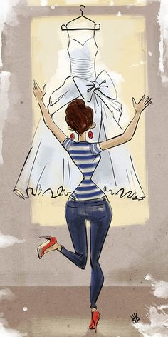 From hilbrandbos.tumblr.com   OMG it's finnally there! - Illustration of a girl who brought home her wedding dress. I imagine it is only days for her wedding.