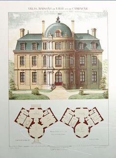Antique Architectural Print - Architecture 1864 Villas - Maisons de Ville - SCARCE - Large folio