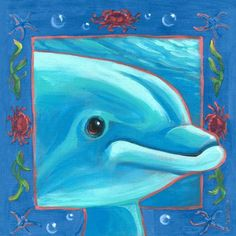 Oopsy Daisy - Underwater Dolphin Canvas Wall Art 30x30, Colleen Phelon Hall