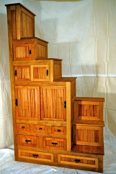 Japanese Tansu Furniture Kaidan dansu step by LittleBearWoodworks, $1832.00