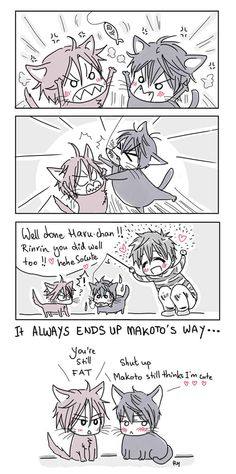 Cat harunyan gets too fat...  part 3 ...  Drawn by racyue ... Free! - Iwatobi Swim Club, haruka nanase, haru nanase, haru, free!, iwatobi, makoto tachibana, makoto, tachibana, nanase, rin matsuoka, matsuoka, rin, rinrin, harunyan