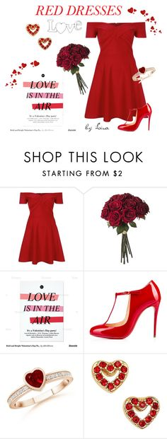 """""""My Red Dress"""" by coolmommy44 ❤ liked on Polyvore featuring River Island, Christian Louboutin, Kate Spade, women's clothing, women, female, woman, misses, juniors and reddress"""