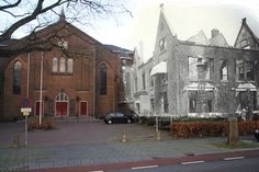 Antonius church / Stationsweg - Dordrecht - May 1940 - The church and surrounding buildings were distroyed by the multiple firefights in this area of the city.