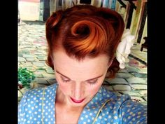 ▶ Victory Rolls on Short (Bobbed) Hair...1940's Reverse Rolls Hairstyle - YouTube