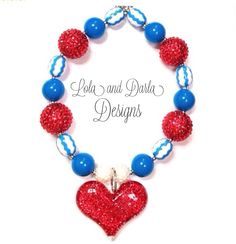 Fourth of July chunky necklace bubblegum by LolaandDarlaDesigns, $18.00