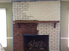 Decor Coaxing :: Paint That Ugly Brick Fireplace Brick Fireplace Wall, White Wash Brick Fireplace, Corner Gas Fireplace, Brick Wall Paneling, Painted Brick Walls, Painted Brick Fireplaces, Brick Fireplace Makeover, Home Fireplace, Fireplace Remodel