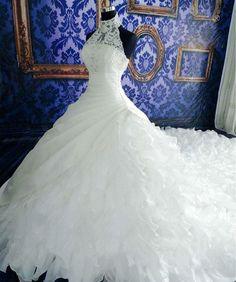 Sweetgirl Halter White Ruffles Applique Beads Ball Gown Wedding Dresses Royal Train: Fashion