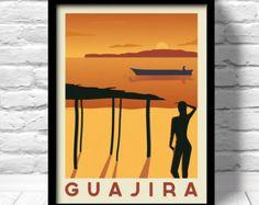 Caribbean Poster, Guajira travel print, Caribbean travel print, Cabo de la Vela, Caribbean art deco poster, Colombia Art Print
