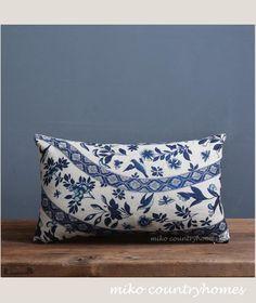 "$18 | Blue & White Chinoiserie Floral Art Motif | Linen Throw Pillow Cover | Decorative Home Decor | 45x45cm 18""x18"" #chinoiserie #homedecor #pillowcover"