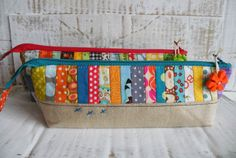 Lovely patchwork and embellished zipper pouch