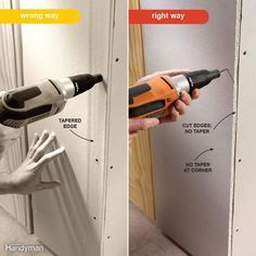 If you hang a sheet of drywall with the tapered edge along an outside corner, it will be hard to install the corner bead accurately (left). The corner of the bead will lie too low, making it difficult to cover with joint compound. The solution is to place cut edges along an outside corner (right).