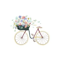 Textile - Illustrations by Anna Emilia Laitinen - Cargo Bike - . - Textile – Illustrations by Anna Emilia Laitinen – Cargo Bike – - Bike Illustration, Illustration Blume, Watercolor Illustration, Watercolor Paintings, Painting Inspiration, Art Inspo, Bike Drawing, Bicycle Art, Jolie Photo
