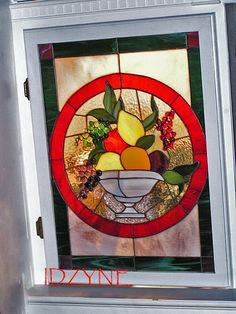 Stained Glass Art Panel Fruit Bowl by idzyne on Etsy