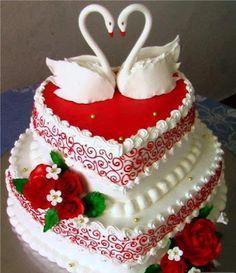 Torta de casamiento decorada en roja y blanca con cisnes y rosas | Ideas Deco - Tortas