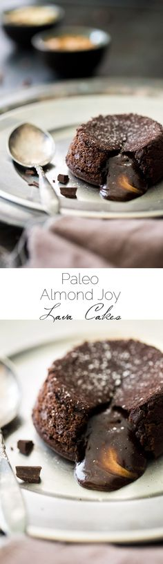 Paleo Chocolate Lava Cake Recipe - So rich and chocolatey that you would NEVER know these are healthy! They're made with coconut oil and almond butter, so they taste like an Almond Joy bar! --- (Several other chocolate PALEO recipes listed here too! Paleo Dessert, Healthy Sweets, Gluten Free Desserts, Just Desserts, Delicious Desserts, Dessert Recipes, Healthy Recipes, Chocolate Lava Cake, Paleo Chocolate