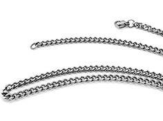 "TRUSUPER Jewelry 3.5mm Titanium Steel Mens Beveled Curb Link Chain Silver Necklace, 18"",20"",22"",24"",26"",28"",30 >>> Want to know more, click on the image."