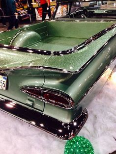 1950s Chevrolet El Camino custom in sage green metallic and metal flake paint with chrome trim
