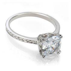 Vintage cushion cut diamond engagement ring, tastefull handmade