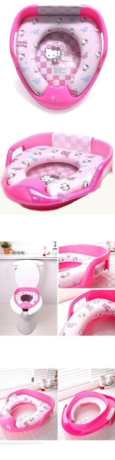Hello Kitty Combined Potty Training Seat Cover Bidet Toilet Chair for Child Baby Rare & cuddly Hello kiity  child toilet bidet seat. There are plastic plate fixed at the bottom.. A great soft toilet training seat in a pink hello kitt design. Perfect for encouraging toilet use.. heat-resisting:+60℃~-5℃.  #Baby_Product
