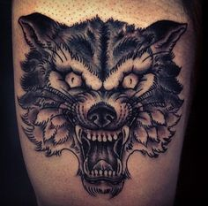 American Traditional Tattoo Wolf Head american traditional tattoo