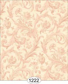 Cottage Acanthus Pink on Ivory Damask WP