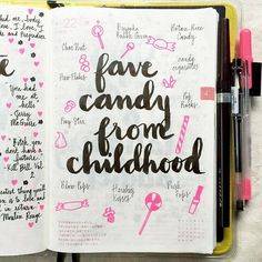 Day 22 of the #listersgottalist challenge: favorite candy from my childhood #journal #journaling #journalingprompts #artjournal #artjournaling #Hobonichi #stationery #scrapbooking #planner #filofax #diary #notebook #mtn #midori #travelersnotebook #midoritravelersnotebook #doodles #doodling #type #typography #lettering #handwriting #handlettering #lettering #lists #pens #brushpens #brushlettering