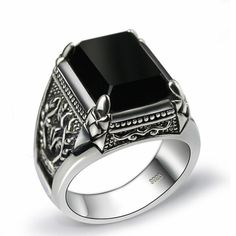 Bardouilles...Shop With Us !Black Obsidian Ring Vintage 100% Real Pure Sterling Silver For Mens With Natural Stone Genuine Fine Jewelry Rock Fashion