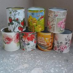 DIY Enjoyable Tin Can Planters - Unique Balcony & Garden Decoration and Easy DIY Ideas Tin Can Crafts, Crafts To Make And Sell, Metal Crafts, Recycled Crafts, Diy And Crafts, Painted Trash Cans, Painted Jars, Recycle Cans, Diy Cans
