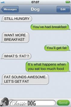 """Dog Texts are hilarious but this one is a true gem ! Lol """"Let's get fat"""" ! Funny Dog Texts, Funny Dogs, Hilarious Texts, Humor Texts, Funny Phone Texts, Iphone Texts, Funny Sarcasm, 9gag Funny, If Dogs Could Text"""