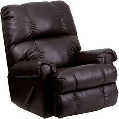Flash Furniture Brown Leather Push Back Recliner MEN-DSC01067-BRN-GG
