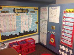 Superhero theme classroom. Math bulletin board.