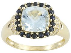 Brazilian Aquamarine And Blue Sapphire 2.00ctw Cushion And Round With Diamond Accent 10k Yg Rg