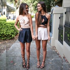 Uber cuties The Herbert Twins in our Cam River Crops and Dabi Shorts from Peppermayo.com
