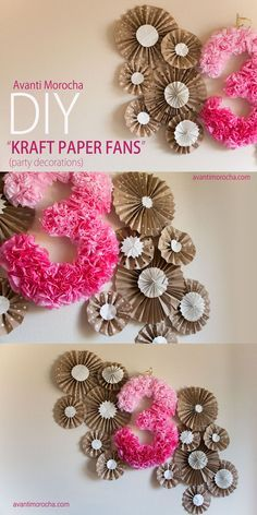 DIY paper fans / rosettes . Beautiful Paper Backdrop do it yourself for less than $5. Great for birthday parties. Video tutorial on my blog.