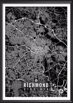 Richmond Virginia Map with Coordinates - Ideate Create Studio