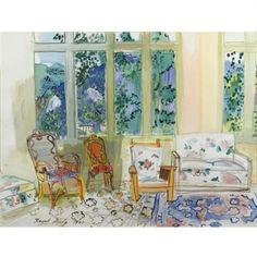 Raoul Dufy - La véranda - 1941 - watercolor, gouache and pencil Gouache, Raoul Dufy, Ex Libris, Henri Matisse, Art History, Watercolors, Pencil, Paintings, Interiors