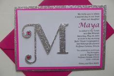 Glitter Pink Bat Mitzvah Sweet Sixteen Invitation - Monogram Invitation Silver Fuschia