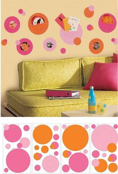 Pink and Orange Wall Pockets Decals SALE - Wall Sticker Outlet