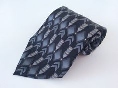 Van Heusen Neck Tie Black Gray Gold Blue Geometric 100% Silk #VanHeusen #NeckTie