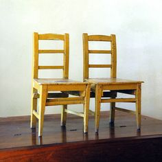 Antique Wood Children's Chairs // The Yellow Pair by 86home, $280.00