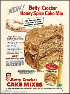 1953 BETTY CROCKER Honey Spice Cake Mix Baking Vintage Food Kitchen AD