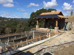 A pool under construction on a breathtaking overlook.