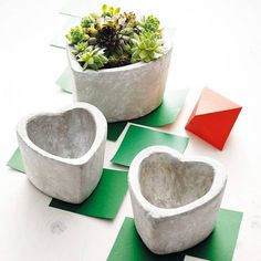 Modern indoor flower pots come in a variety of shapes and sizes, colors and materials. Many people take the chance to make their own unique flower pots Stone Planters, Cement Planters, Diy Planters, Garden Planters, Indoor Garden, Planter Pots, Cement Flower Pots, Indoor Flower Pots, Cement Art