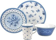 European 16 -Piece Fine Porcelain Dinner Ware Set- Country Blue  Decor by French Home, LLC, http://www.amazon.com/dp/B006Z1Q4EE/ref=cm_sw_r_pi_dp_Dn.Hrb1DBWDT4