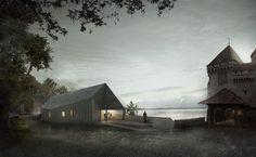3d Visualisierung vom Wettbewerbsbeitrag der Architekten Karamuk-Kuo für das besucherzentrum des Wasserschloss Château de Chillon.