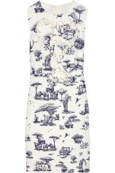 CARVEN  Safari-print linen and cotton-blend dress  $443.75