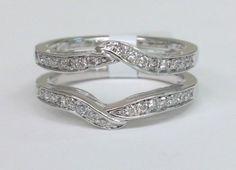 Solitaire-Enhancer-Diamonds-Ring-Guard-Wrap-14k-White-Gold-Wedding-Band