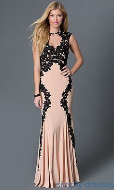 Shop long nude prom dresses with black lace appliques at Simply Dresses. Floor-length pageant dresses and backless gowns with mermaid skirts.